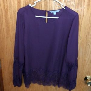 Sheer Plum Blouse with Lace